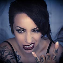 Rock on by Todd Wallarab - People Body Art/Tattoos ( face, sex, girl, rock, woamn, tatoo )