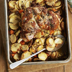 Garlic Roast Lamb With Hotpot Potatoes