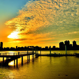 Sunset at dock by Angela Chen - Buildings & Architecture Bridges & Suspended Structures ( water, sunset, bridge, sunrise, dock, sun )