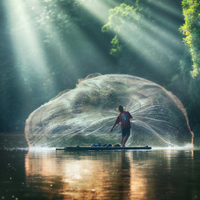 jala by Suloara Allokendek - People Portraits of Men ( lake, fisher, net, light, man )