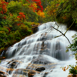 Serene Falls by Lizzy Foxx - Landscapes Waterscapes ( exposure, water, color, autumn, foliage, fall, long, colorful, nature )