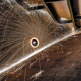 Incline by Brent Sharp - Abstract Light Painting ( underpass, steel wool, long exposure, night, bridge, sparks,  )