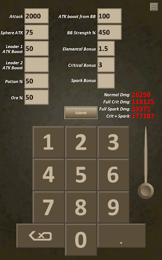 DMG Calculator: Brave Frontier - screenshot