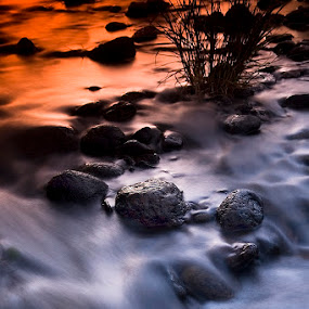Twilight River by Craig Bill - Nature Up Close Water ( water, craigbill.com, sunset, long exposure, craig bill, slow shutter, river,  )