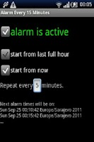 Screenshot of Alarm every 15 minutes