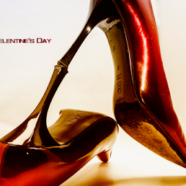 Happy Valentine's Day by Riad Zbeida - Typography Words ( valentine's day, love, valentine's, heart, red, happy, high heels, postcard, shose,  )