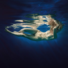 Water element. by Dmitry Laudin - Nudes & Boudoir Artistic Nude ( water, reflection, nude, blue, woman, swim )