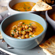 Carrot Soup With Tahini And Crisped Chickpeas