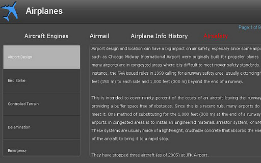 Airplane info for Tablet