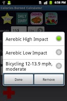 Screenshot of Calories Burned Calculator