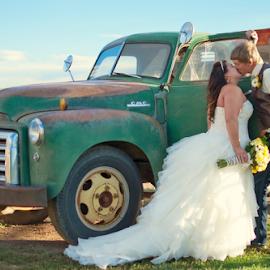 Vintage Love by Carrie Schneider - Wedding Bride & Groom ( countryside, vintage, wedding, gmc, bride and groom, country )