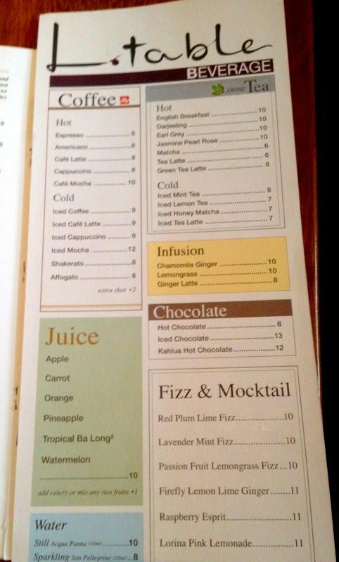 Menu l table lavender bakery malaysia food for Table 9 menu