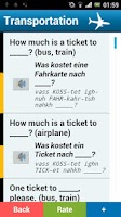 Screenshot of German phrasebook (free)
