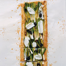 Leek and Olive Tart with Two Cheeses