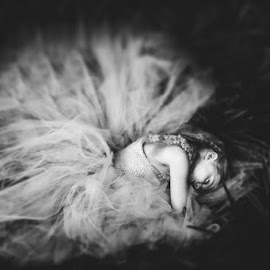 Visions of Sugarplums Danced In her Head by Melina McGrew McConnaughy - Babies & Children Child Portraits ( child, natural light, outdoor photography, black and white, fine art )