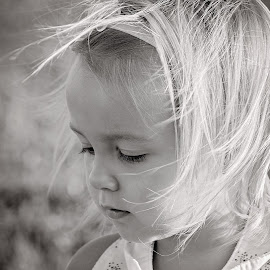 Pensive by Kelsie Anderson - Babies & Children Toddlers ( child, maine, black and white, farm girl, summer, toddler )
