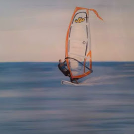 by Noele Hachach - Painting All Painting ( water, rose, blue, sports, crossroads, square, windsurf, painting, black )