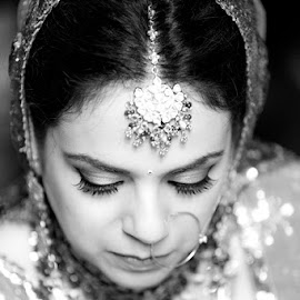 The Bride by Ankit Sharma - Wedding Bride ( canon, jewellery, wedding, vlack and white, beautiful, india, jewelry, beauty, bride, portrait, delhi )
