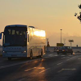 Sunrise commuters by Vladimir Bogovac - Transportation Other ( rush, bus, commuter, transportation, hour, sunrise, public, morning, early,  )