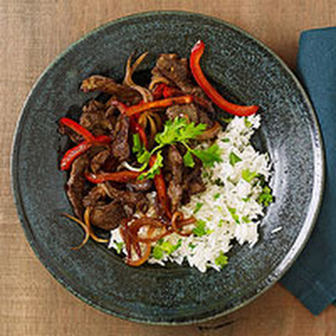 Spicy Stir-Fried Lamb with Cilantro Rice