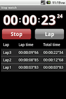 Screenshot of Droid timer and stopwatch