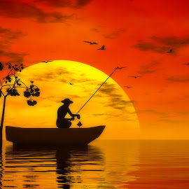 Evening Fishing by Lux Aeterna - Illustration Flowers & Nature