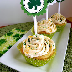 Vanilla Cupcakes Filled with Chocolate Irish Cream and Irish Cream Frosting