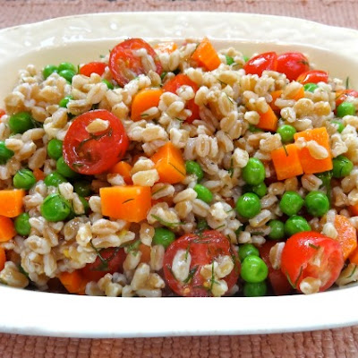 Farro Salad with Carrots, Peas, Tomatoes and Dill