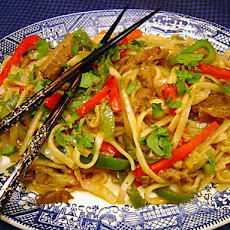 Stir Fried Noodles With Curried Lamb