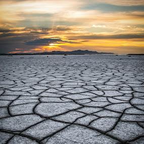 Salt Flat Sunset by Dallas Golden - Landscapes Deserts ( great salt lake, desert, sunset )