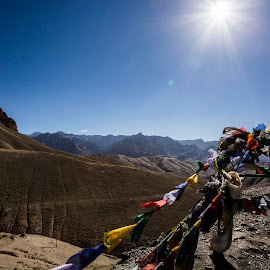 Endless by Rishabh Asthana - Landscapes Travel ( prayer, mountains, flags, blue, landscape )