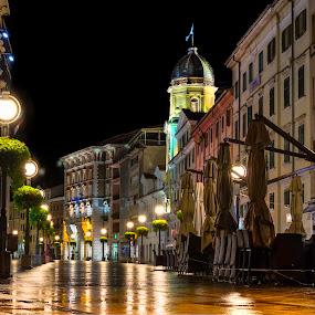 Promenade in Rijeka, by Night by Siniša Biljan - City,  Street & Park  Street Scenes ( , city at night, street at night, park at night, nightlife, night life, nighttime in the city )