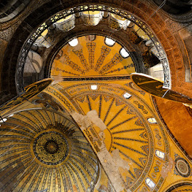Hagia Sophia by Robert Socha - Buildings & Architecture Architectural Detail ( interior, hagia sophia, ceiling, constantinople, architecture, istanbul, Architecture, Ceilings, Ceiling, Buildings, Building )