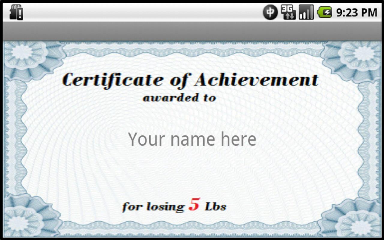 weight loss award certificate templates