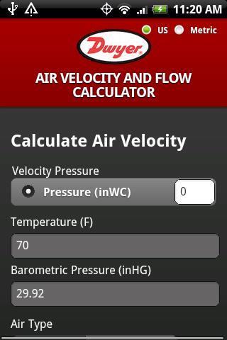Dwyer Air Velocity Calculator