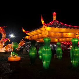 Dragon in the park by Chandra Irahadi - City,  Street & Park  Street Scenes ( ontheground, nightshot, dragon, yellow, starlights, chinese, colour, lantern, bigtoys, artistic objects, slow speed, orange, festa, chineselights, chinesefestives, lanterns, lens, colours, night shot, nightscapes, canon, night light, chineselanterns, festive, greens, amusement park, colorful, night lights, new year, photojournalism, nightview, beauty, landscape, pretty, photography, lights, black background, chinesefestive, ornament, amusement parks, festival, slowspeed, night scene, green, traditional, chinesetraditions, photo, nightscape, star shaped, red, night view, amusement, toys, artistic, fiesta, lamp, nightography, glowing, chinesetradition, chinese new year, chinese newyear, slow shutter )