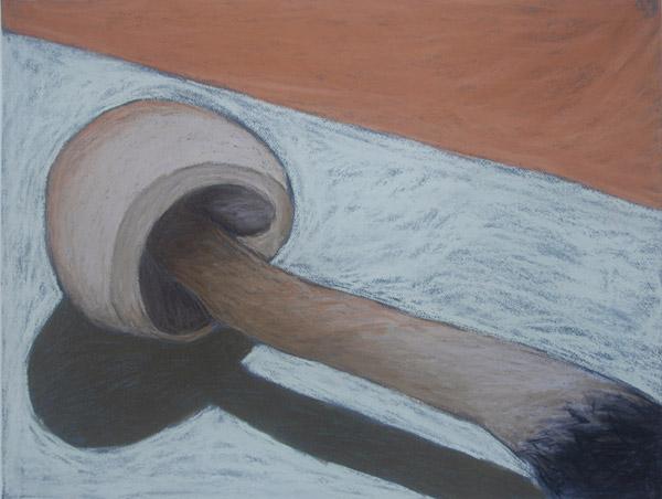 Single Mushroom #1 <br>  Pastel on paper <br> 20 x 25.5 in