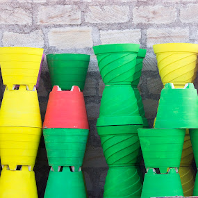 pots by Nirav Raval - City,  Street & Park  Street Scenes ( colorfull pots, colors, color full pots, pots )