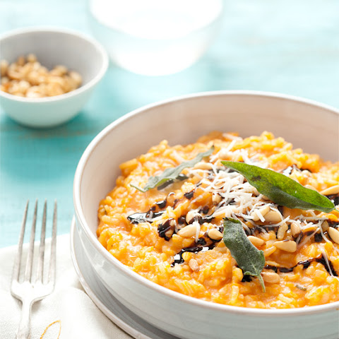 Butternut Squash Risotto with Pine Nuts, Balsamic Drizzle, and Fried Sage