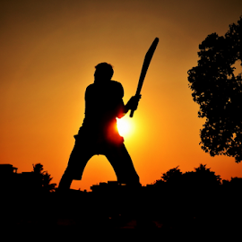 Even the hit cannot beat the cricket fever by Suman Podder - Sports & Fitness Cricket ( cricket, silhouette, summer )