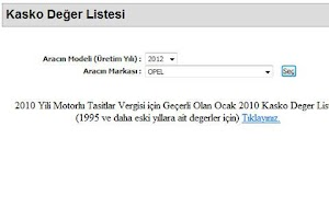 Screenshot of Kasko Deger Listesi