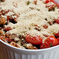 Basil Scalloped Tomatoes and Croutons