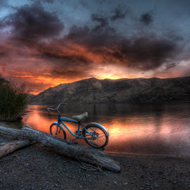 Orange Sunset by Eric Demattos - Transportation Bicycles ( driftwood, blue bike, orange sunset, beach, river )
