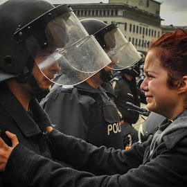Protests in bulgaria by Stefan Stefanov - News & Events World Events ( policeman, girl, antigovernment, protests, riot, bulgaria )