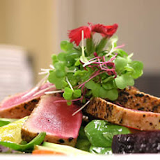 Pan Seared Ahi Tuna, Baby Beets and Watercress Salad with Ginger Vinaigrette