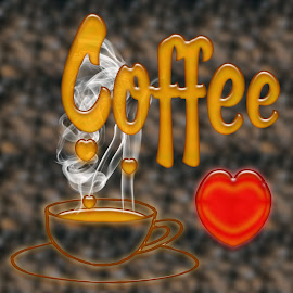 Love Coffee by Dipali S - Typography Words ( pwc, pwccoffee, coffee, illustration, art, creativity, design, photoshop )