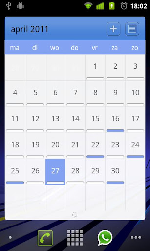 LP Calendar Android Stock Skin