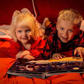 The Night Before Christmas by Brian Frackelton - Babies & Children Child Portraits ( pajamas, reading, book, christmas, children, christmas eve )