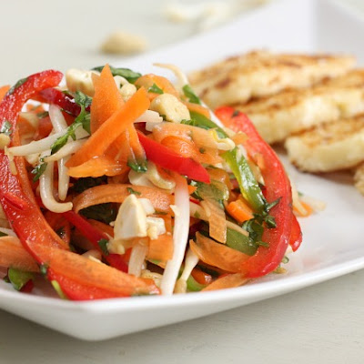 Sesame crusted halloumi with Asian slaw
