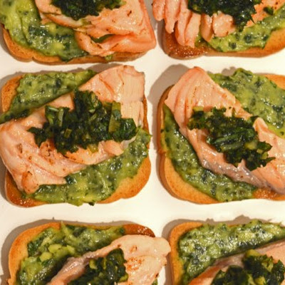 Salmon & Green Salsa Canapes